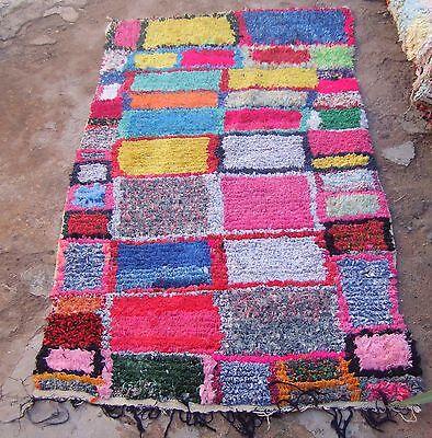 Vintage Moroccan Boucherouite Rag Rug Contemporary Design 183 X 108cm