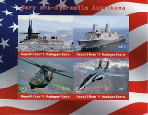 Madagascar 2018 MNH American Military Warships 4v Impf M/S Aviation Ships Stamps