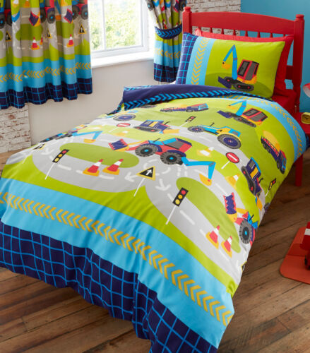 DIGGERS TRAFFIC LIGHT CONES ARROW ROAD BLUE ORANGE GREEN RED BEDDING OR CURTAINS