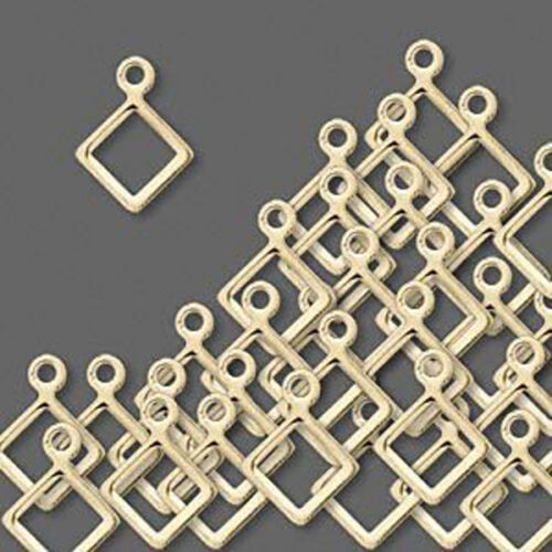 Diamond Drop Open Charms Gold Plated Jewelry Lot of 20