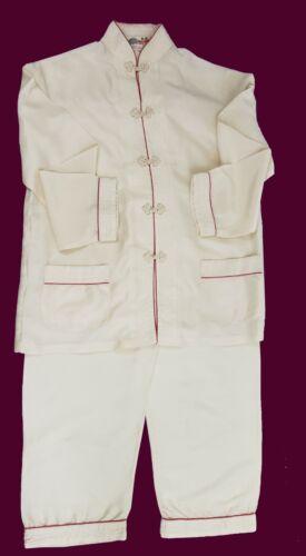 Vintage Chinese 100% Silk Pajama Set Ivory Hand Em