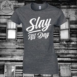 Slay Tshirt Rihanna print T shirt camisas femininas European basic short sleeve