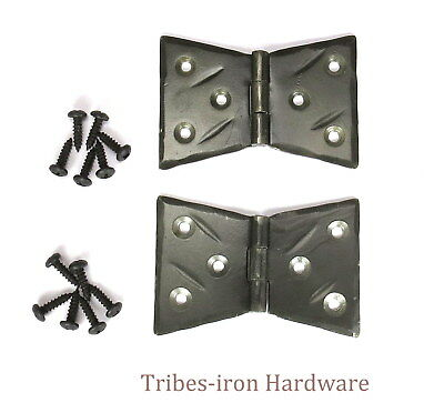 2 T Strap Hinges Wrought Iron Cabinet Door Window Antique Trunk Gate Hand Forged