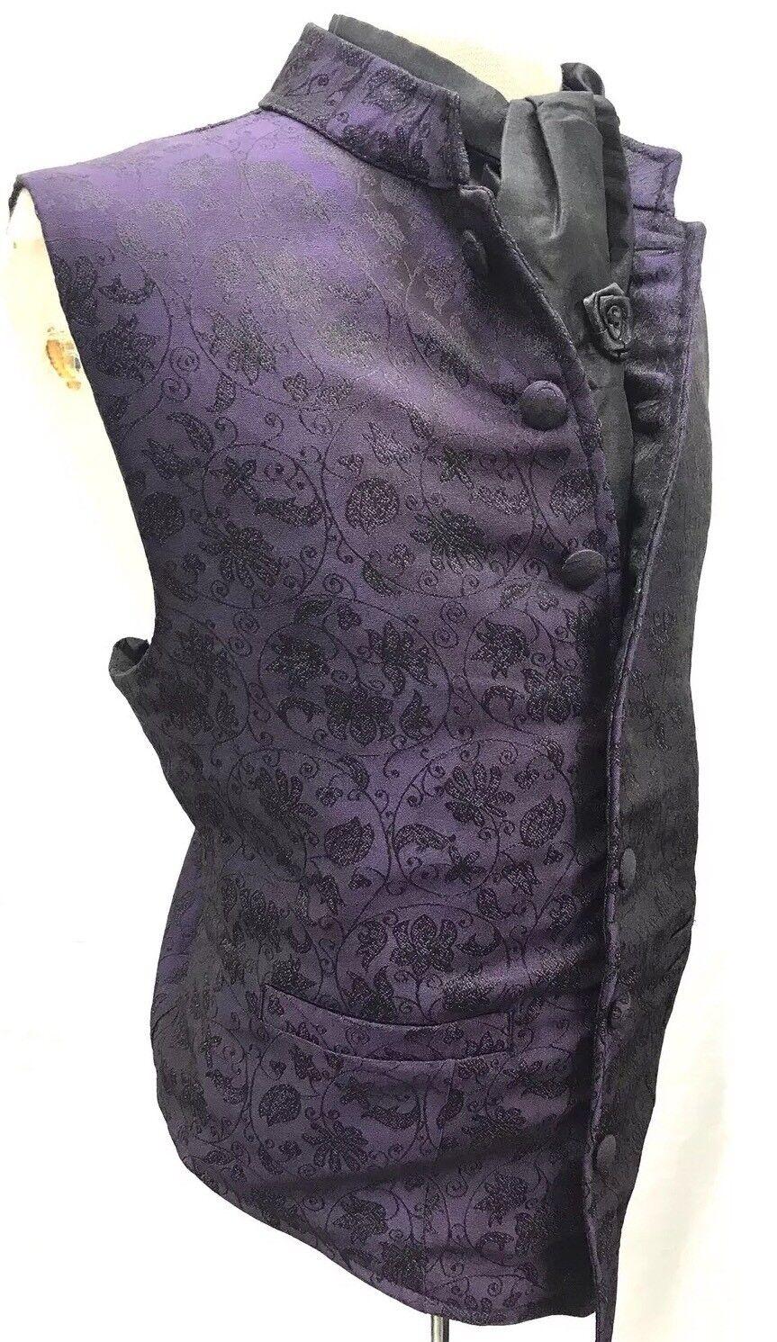 "Halloween Special Raven Romantic Gothic Waistcoat, Cravat Pin Size 40 42"" M"