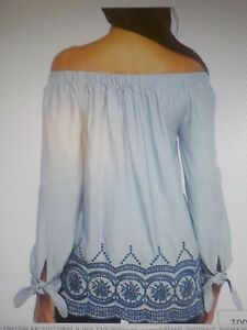 Womens Blue White Embroidered Hem Off The Shoulder Peasant Top