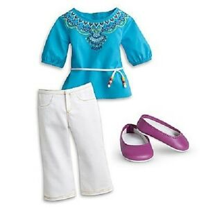 American-Girl-Saige-TUNIC-OUTFIT-retired-top-pants-shoes-F4691