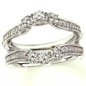 c77e6b7903f 1.07CT Diamond 14K Gold Finish Solitaire Enhancer Wrap Wedding Band ...