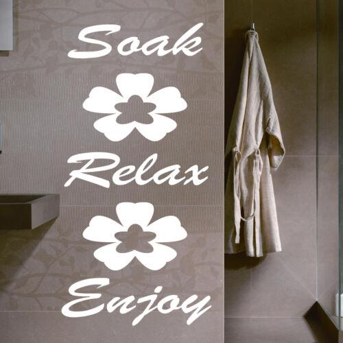 SOAK/RELAX/ENJOY BATHROOM WALL STICKER ART DECALS QUOTE