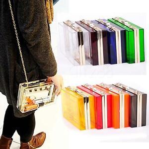 Transparent-Acrylic-Perspex-Womens-Clutch-Purse-Evening-Bag-Handbag-Shoulder-Bag