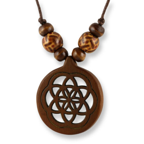 Collar Design remolque madera amuleto 3cm flor de la vida n289