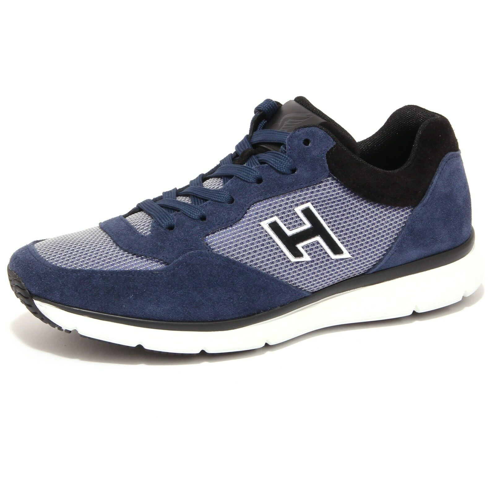 4194Q zapatilla de deporte hombres HOGAN H FLOCK azul negro Ante Azul Zapatos Hombres