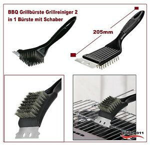 Edelstahl Grillreinigungsbürste Grillbürste 3 in 1 Grillschaber BBQ Kit!