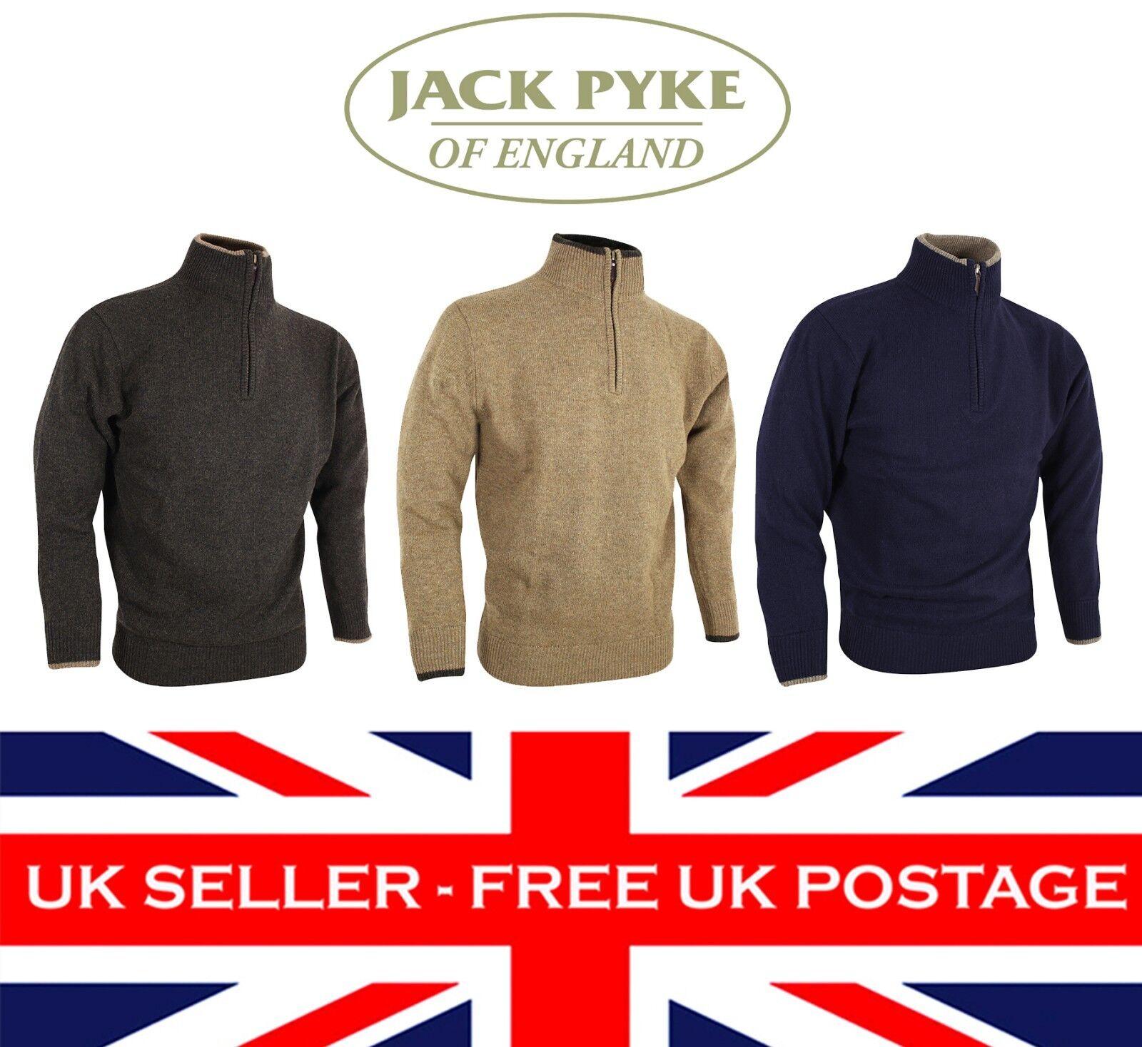 JACK Pyke ashcombe 100% Agnelli Lana Zip Knit Pullover Jumper S-3XL SHOOTING UK