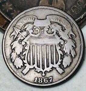 1867-Two-Cent-Piece-2C-High-Grade-Civil-War-Era-Good-Date-US-Copper-Coin-CC4844