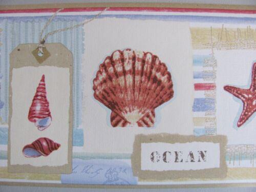 SHELL MEMORIES Sea Shore Star Fish Beach Comber Ocean Theme WALL PAPER BORDER