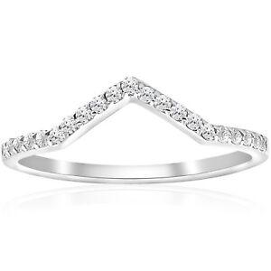 1/4ct 鉆石曲面 v 形狀婚禮戒指女式可堆疊婚禮戒指 10k 金