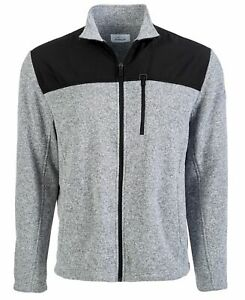 Attack Life Mens Sweater Gray Size 2XL Colorblock Marled Mock Full Zip $70 #078