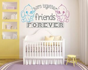 twins born together friends forever nursery wall art decal vinyl