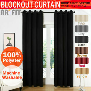 2X-Blockout-Curtains-Thermal-Blackout-Curtains-Fabric-Pair-Eyelet-for-Bedroom