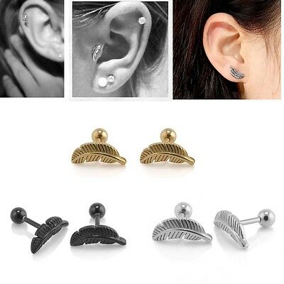 2 X Stainless Steel Feather Barbell Ear Cartilage Helix Bar Earring Piercing New