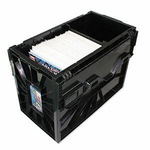 BCW-SHORT-COMIC-BOOK-BIN-Black-Plastic-Storage-Box-w-One-Partition-1-Box