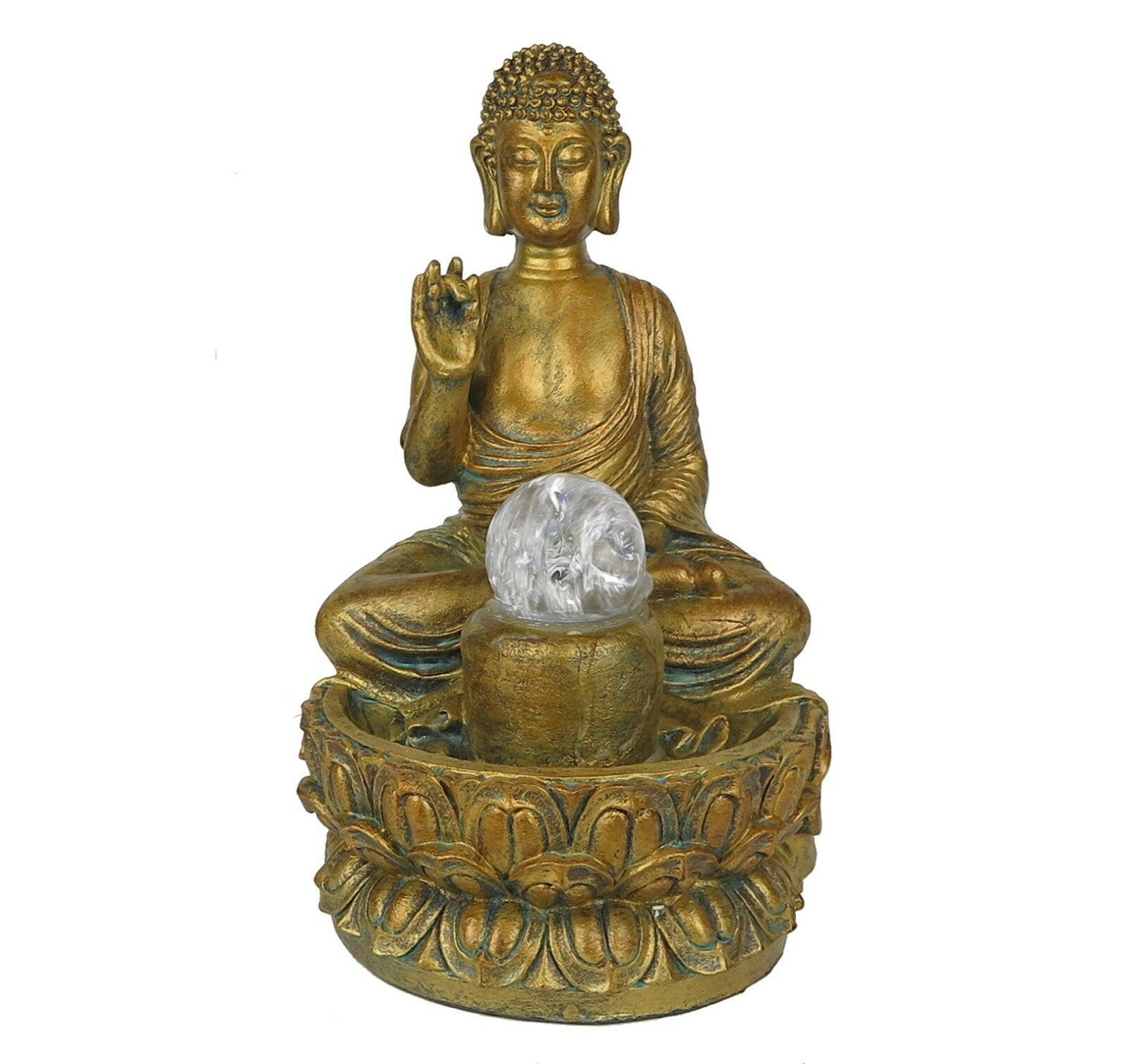 Water Fountain w  LED Lights Protection Buddha Zen Innen Home Decor 11.5  New