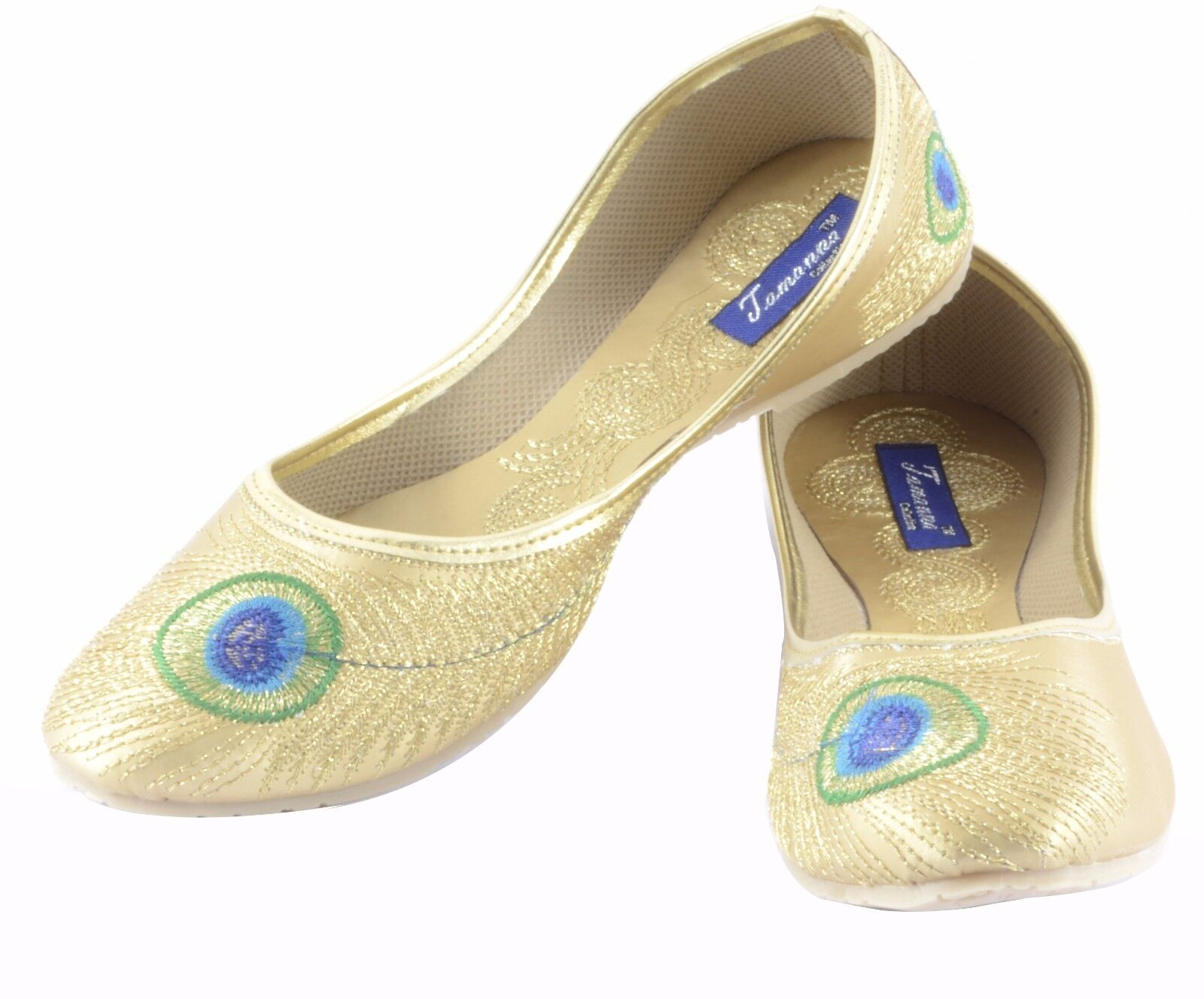 US 6-10 Indian Color Ethnic Mojari Traditional Khussa Flat Golden Color Indian For Women e13c36