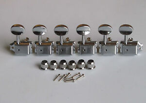 6 inline strat tele vintage guitar tuning key guitar tuners machine heads chrome ebay. Black Bedroom Furniture Sets. Home Design Ideas