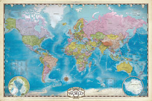 Map of the world with poles poster print 36x24 world map ebay image is loading map of the world with poles poster print gumiabroncs Choice Image