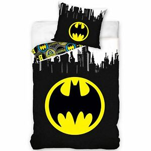 Batman-Logo-Gotham-Set-Housse-de-Couette-Simple-Europeen-100-Coton-Reversible