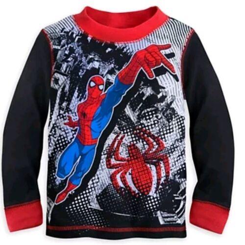 Disney Store Authentic Spiderman Super Hero Boys Pajamas PJ lounge Set Size 2