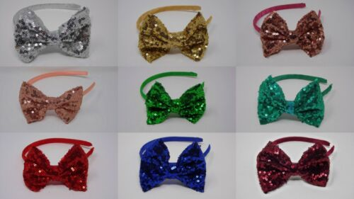 "4/"" Sequin Fabric Shiny bow Alice band hair headbands"