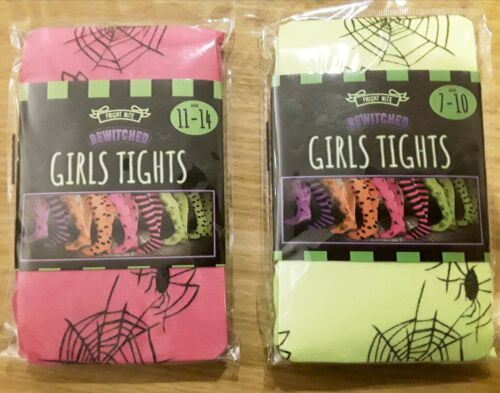 Webs  detail Girls Pink Orange or Yellow Tights with Spiders
