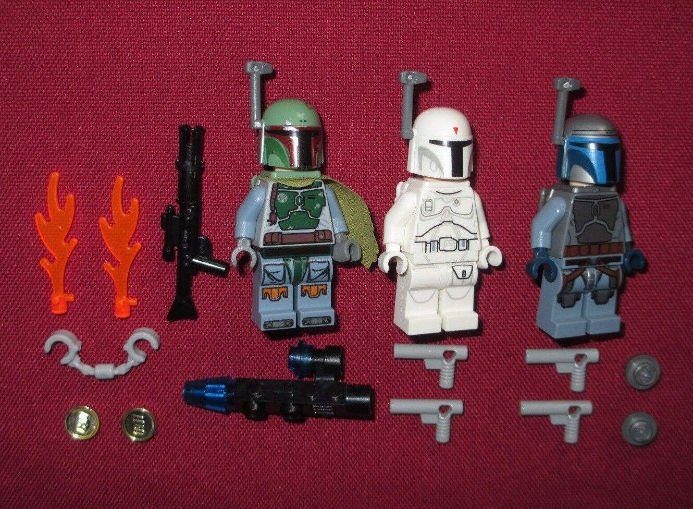 LEGO Star Wars Wars Wars minifigures LOT Boba Fett,White Boba Fett (Predotype),Jango Fett f1c562