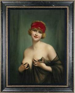 Old-Master-Art-Antique-Oil-Painting-Portrait-girl-noblewoman-on-canvas-24-034-x36-034