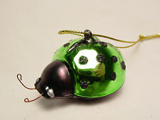 NOS Mini Blown Glass Ladybug Beetle Xmas Tree Ornament Miniature Green Handmade