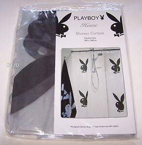 Image Is Loading Playboy Bunny Logo Black Printed PVC Shower Curtain