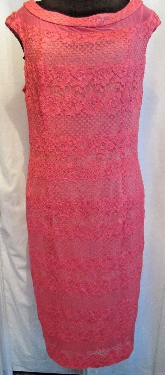 New GABBY SKYE LANE BRYANT  148 Coral Mesh & Lace Sheath Dress Plus Size 16W 1X