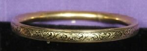 Craftmere-Signed-12K-GOLD-Filled-Golden-Bracelet-Bangle-with-scrolling-etching