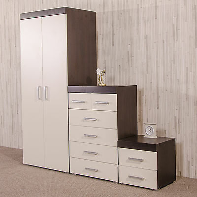 Bedroom Furniture Set White/Dark Brown Wardrobe 4+2 Drawer Chest Bedside Cabinet