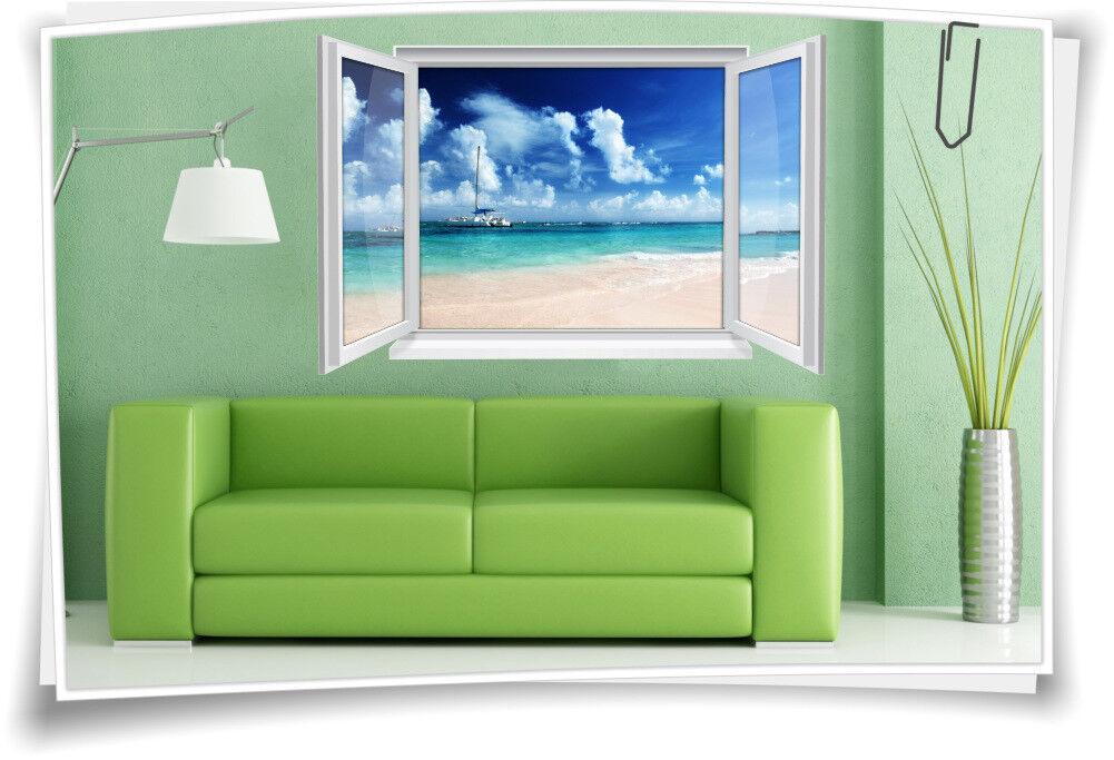3D Fenster Wandbild Wandtattoo Aufkleber Wohnzimmer Meer SegelStiefel Urlaub Strand