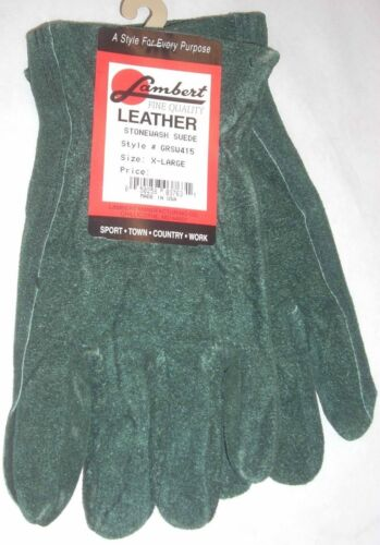 Lambert GRSW415 Green Suede Leather Gloves XL USA Made