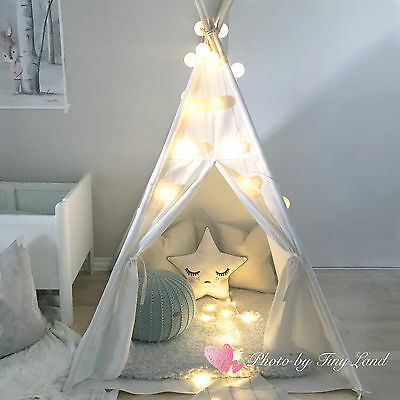 buy popular b3ae3 c62dc Tiny Land White Cotton Canvas Kids Teepee Tent Childrens Wigwam Indoor  Playhouse 713001897561 | eBay
