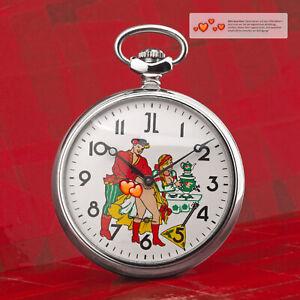 Vintage-Taschenuhr-Erotik-Uhr-LIEBESPAAR-mechanische-MOLNIJA-3602-JL-romantisch