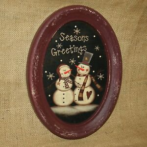 Seasons-Greetings-Snowman-Oval-Burgundy-Wall-Picture