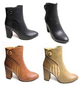 Zapatos-De-Cuero-Mujer-Botas-al-Tobillo-Puntiagudo-Bloque-Tacones-Altos-De-Imitacion-Cocodrilo-Con