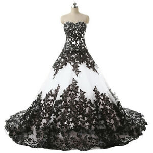 Details About Vintage Gothic Halloween Wedding Dress Elegant Black Appliques Bridal Ball Gowns