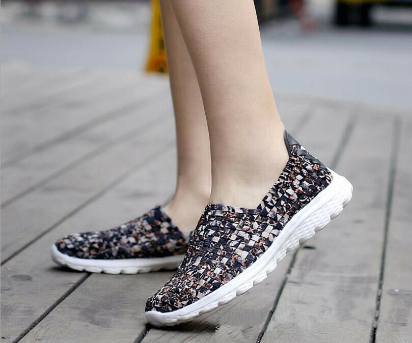 Women's Sports Running shoes Light Woven Sneaker Slip-on shoes Athletic shoes