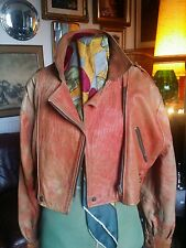 "VINTAGE 1980'S Glam Rock ritagliata pelle stropicciata motociclo jacket.med 10-14 """