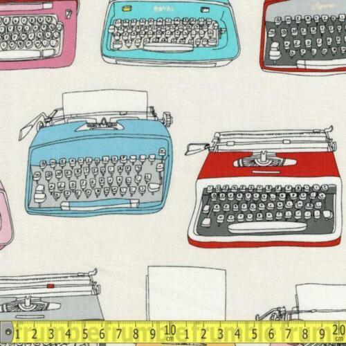 Windham Fabric Type Main Typewriters Cream HALF METRE